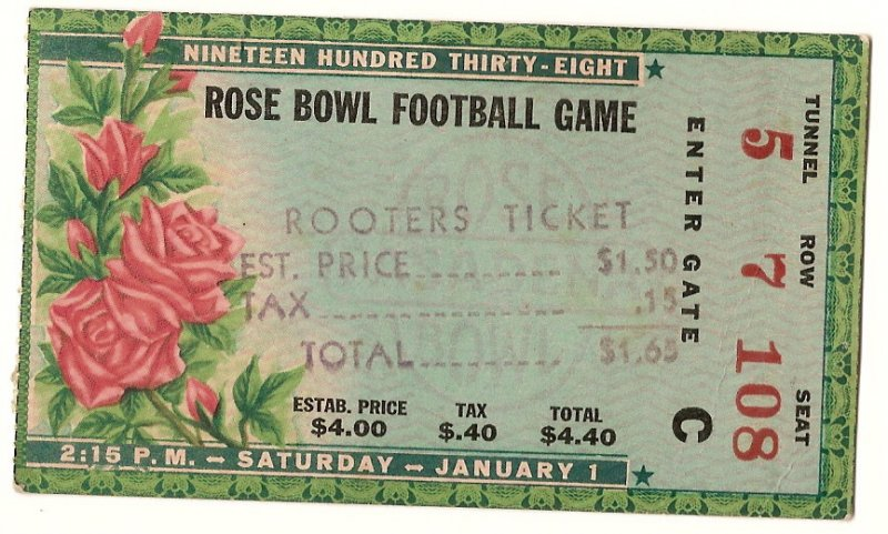 Image 0 of 1938 Rose Bowl Game Ticket Stub Alabama California
