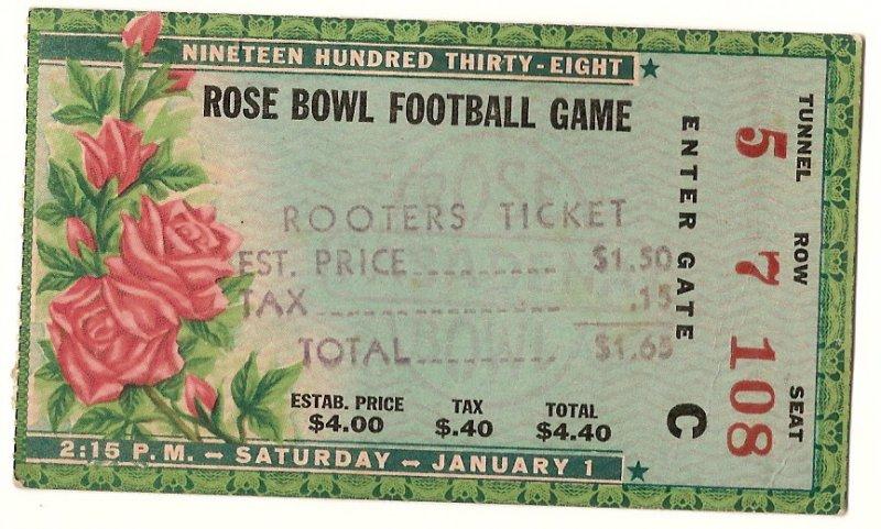 Image 0 of 1938 Rose Bowl Game Ticket Stub Alabama California