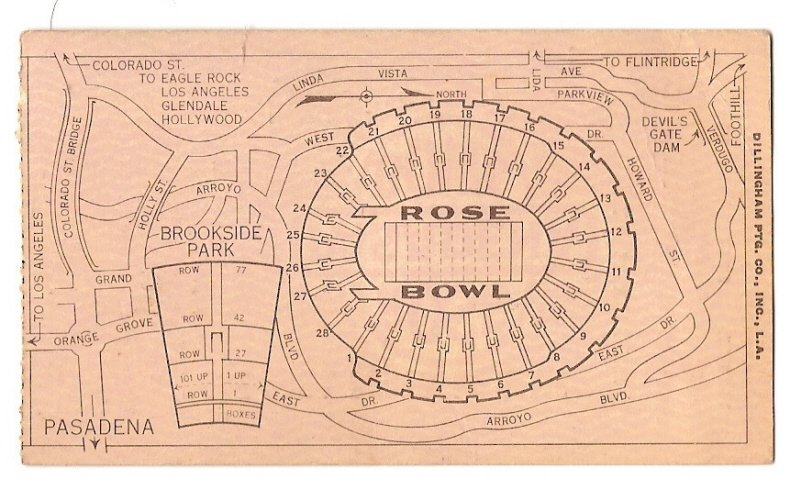 Image 1 of 1938 Rose Bowl Game Ticket Stub Alabama California