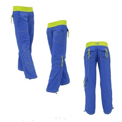 Zumba Logo Cargo Pants Size Medium Blue