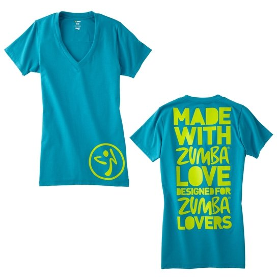 zumba made with love v neck size s m l xl lagoon. Black Bedroom Furniture Sets. Home Design Ideas