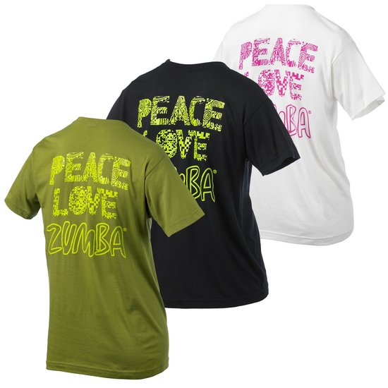zumba peace and love t shirt green. Black Bedroom Furniture Sets. Home Design Ideas