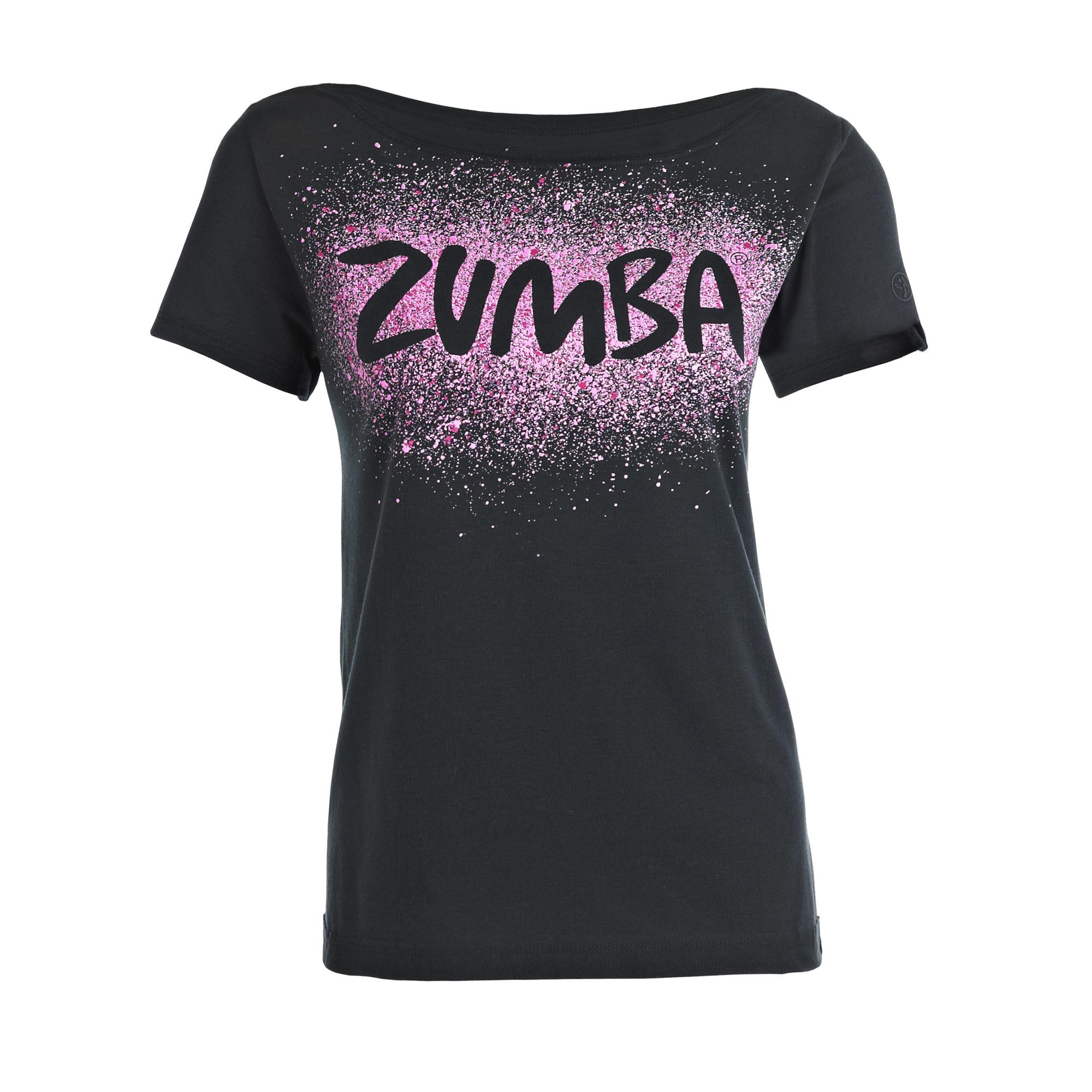 zumba cosmic fancy top shirt sz xs s black. Black Bedroom Furniture Sets. Home Design Ideas