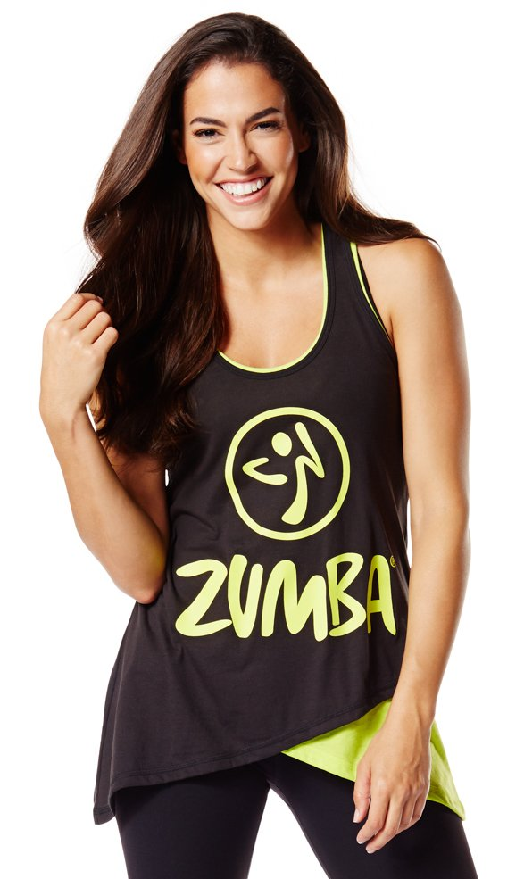 Zumba Two-Tone Long Loose Tank size XS u0026 Small - Sew Black