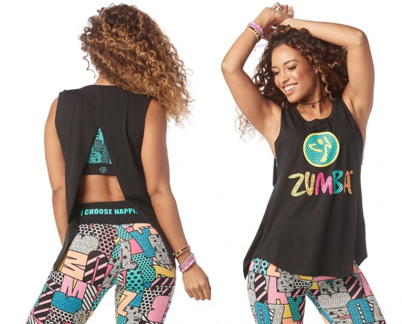 15a13f338f574 Zumba Dance Outside Open Back Tank - Bold black
