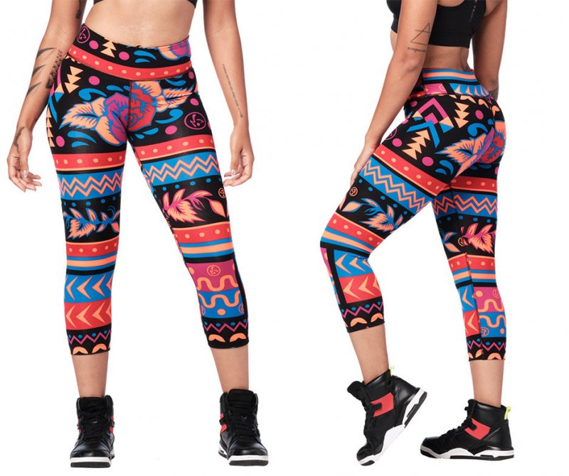 Details about  /ZUMBA 2Pc.Set Right to Bear Arms Tee Open Shoulder /& Dazzlin/' Capri Leggings