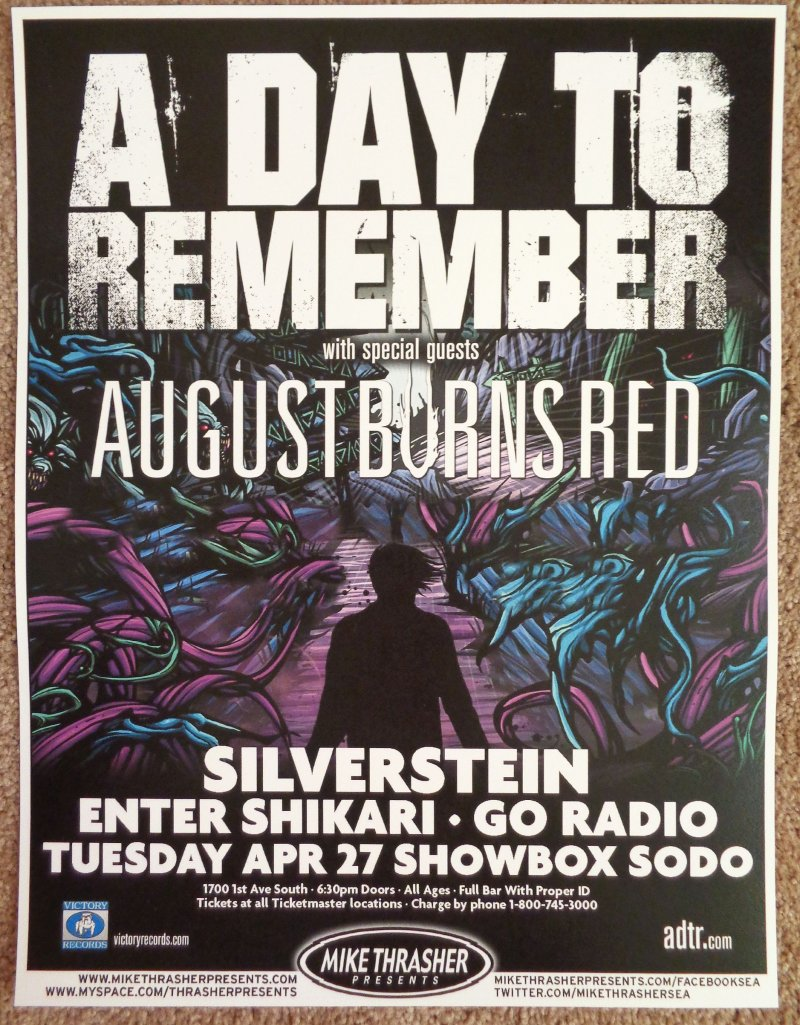Image 0 of A DAY TO REMEMBER 2010 Gig POSTER Seattle Washington Concert