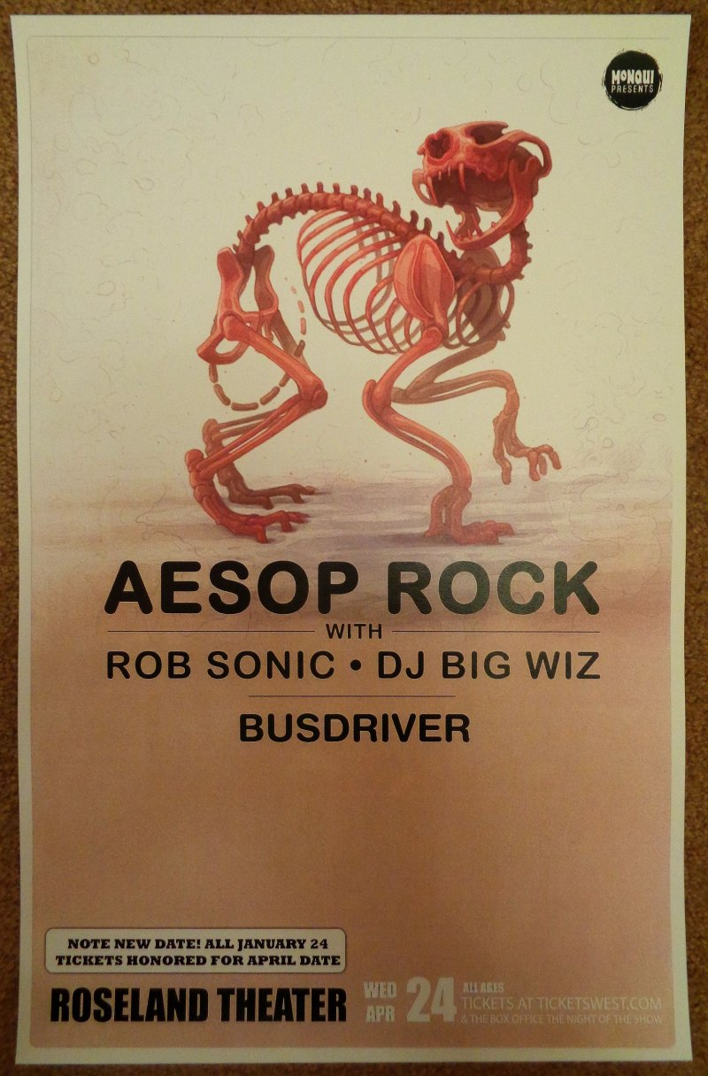 Image 0 of AESOP ROCK Gig POSTER 2013 Portland Oregon April Concert