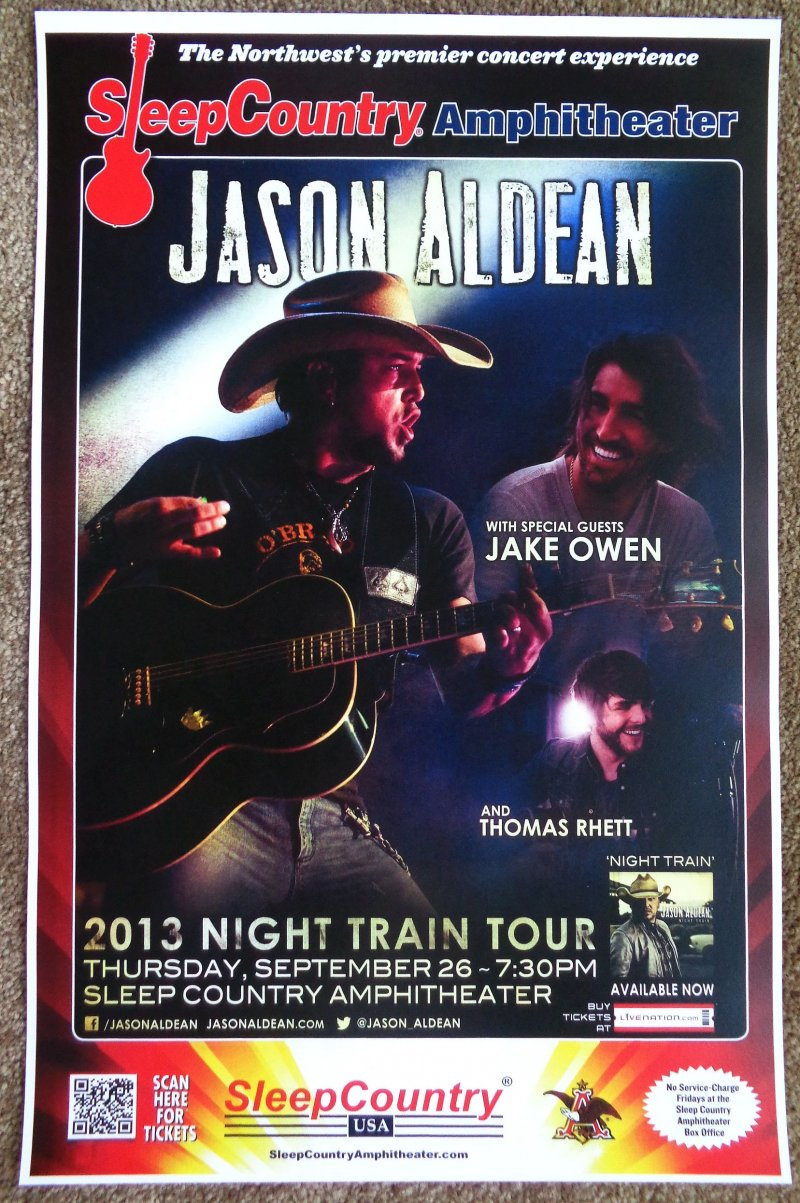 Aldean JASON ALDEAN / JAKE OWEN / THOMAS RHETT Gig POSTER 13 Washington Concert