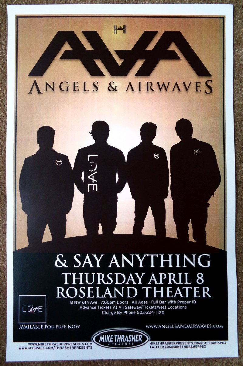 Image 0 of ANGELS AND AIRWAVES 2010 Gig POSTER Portland Oregon Concert