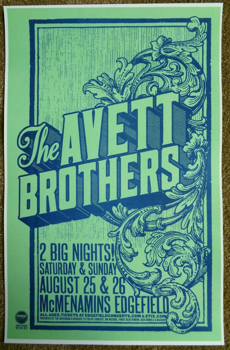 Image 0 of AVETT BROTHERS 2012 Gig POSTER Edgefield Portland Oregon Concert