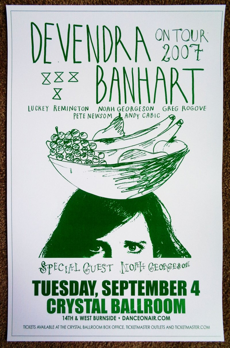 Image 0 of Banhart DEVENDRA BANHART 2007 Gig POSTER Portland Oregon Concert
