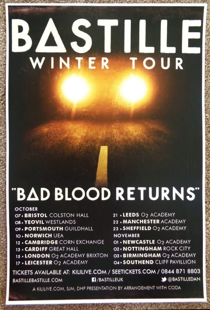 BASTILLE 2013 Tour POSTER United Kingdom Pompeii Bad Blood Gig Concert