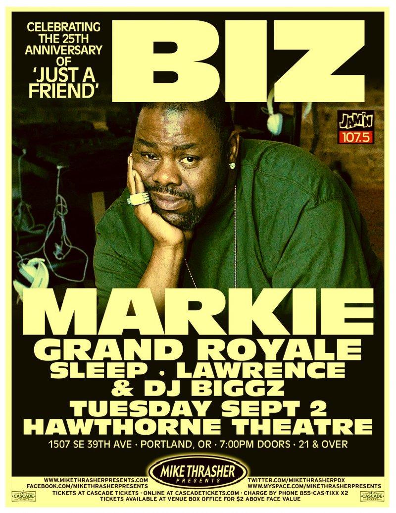 BIZ MARKIE 2014 Gig POSTER Portland Oregon Concert