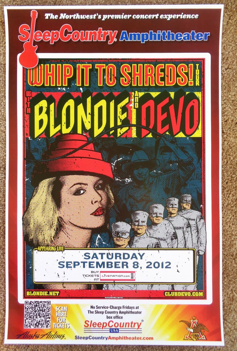 Image 0 of DEVO & BLONDIE 2012 Gig POSTER Ridgefield Washington Concert