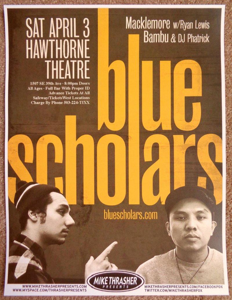 BLUE SCHOLARS Gig POSTER April 2010 Portland Oregon Concert