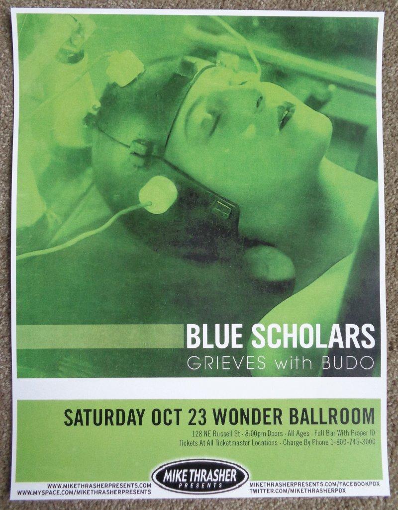 BLUE SCHOLARS Gig POSTER October 2010 Portland Oregon Concert