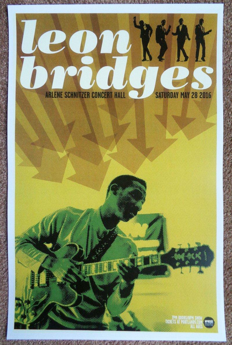 Image 0 of Bridges LEON BRIDGES 2016 Gig POSTER Portland Oregon Concert