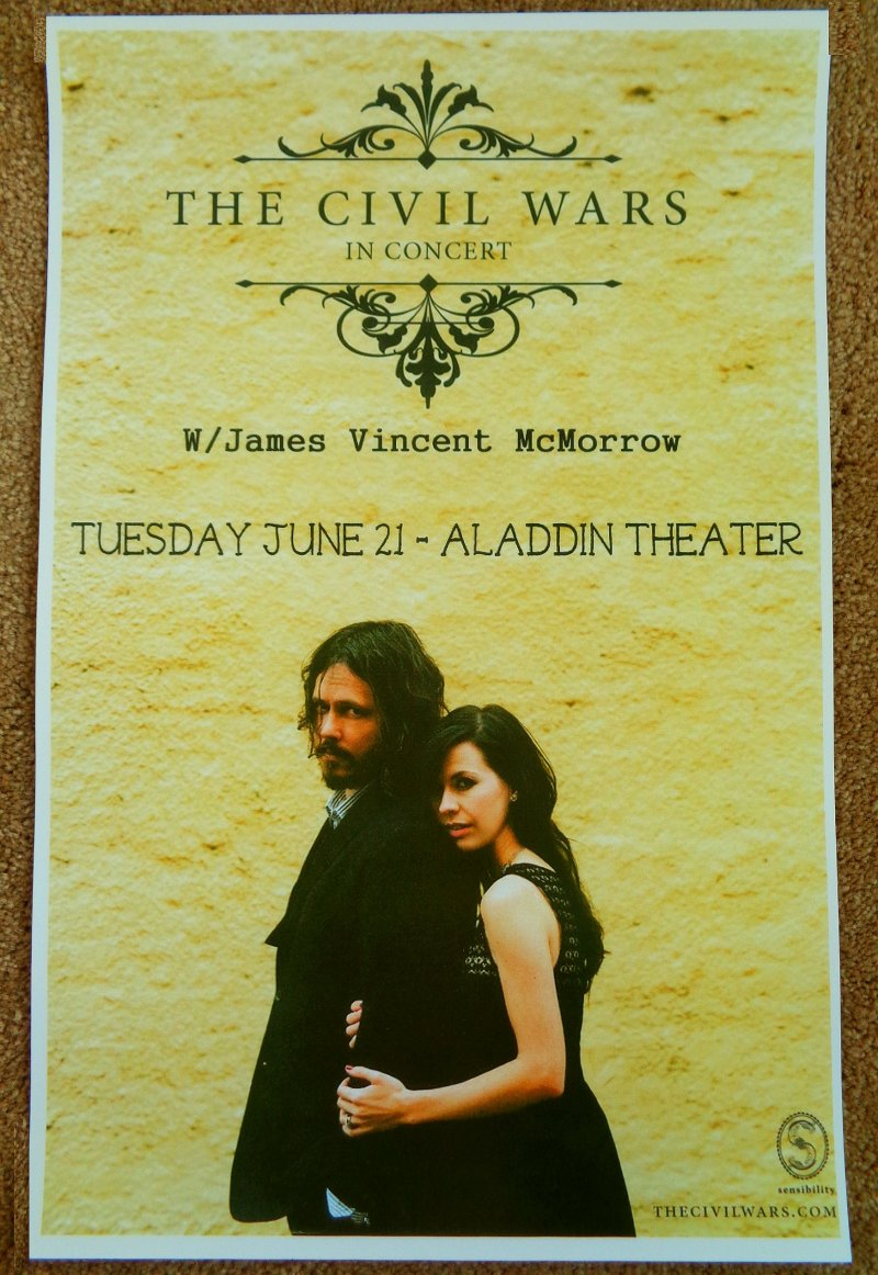 Image 0 of Civil Wars THE CIVIL WARS 2011 Gig POSTER Portland Oregon Barton Hollow Concert