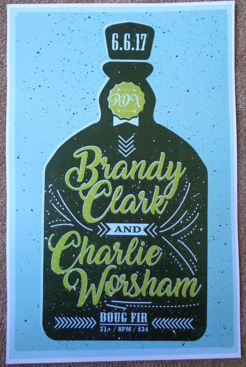 Clark BRANDY CLARK / CHARLIE WORSHAM Gig POSTER 2017 Portland Oregon Concert