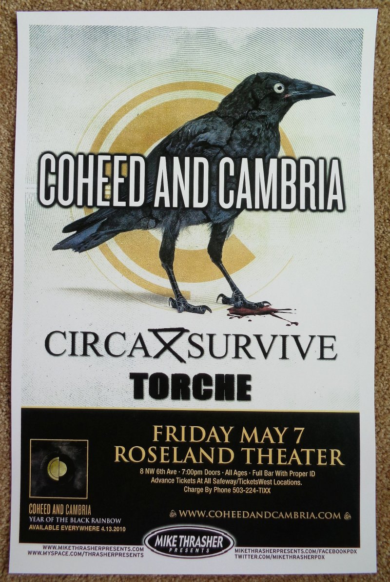 Image 0 of COHEED And CAMBRIA Portland Oregon 2010 Gig Concert POSTER