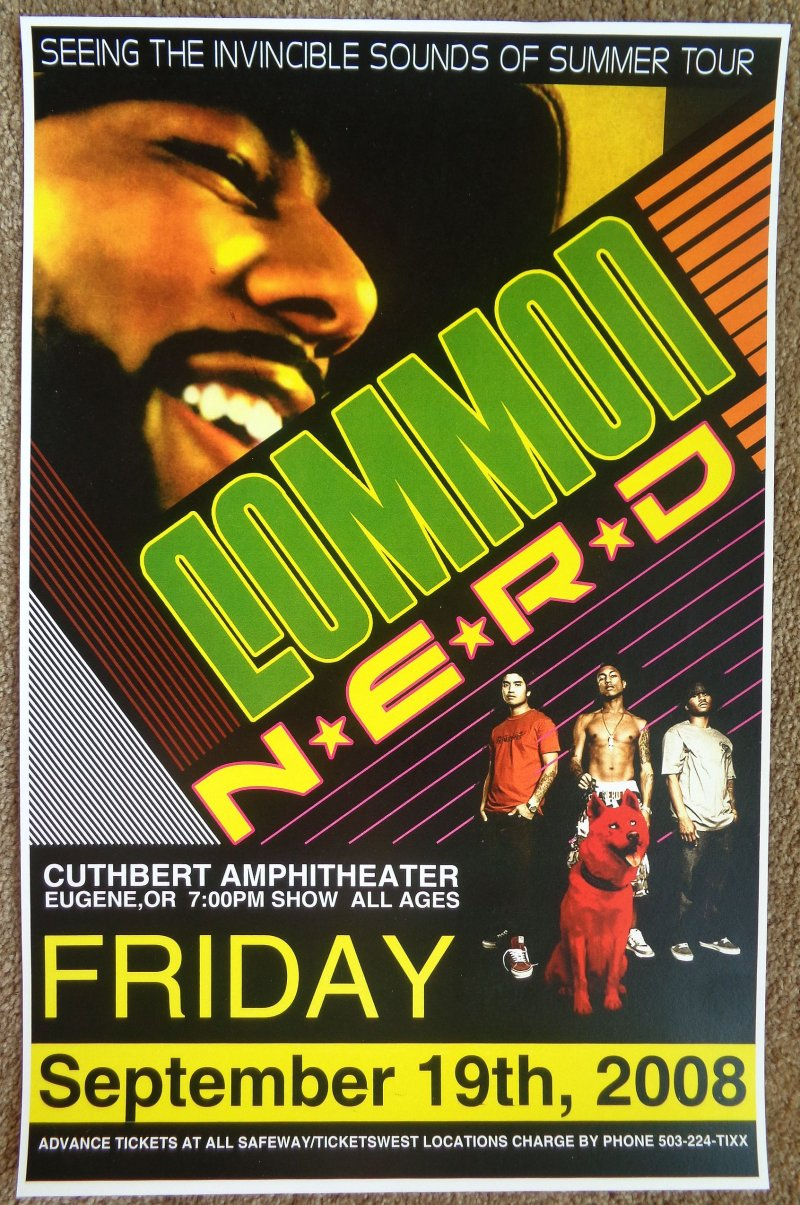 COMMON and N*E*R*D NERD 2008 Gig POSTER Portland Oregon Concert