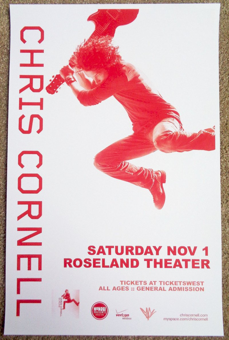 Image 0 of Cornell CHRIS CORNELL 2008 Gig POSTER Portland Oregon Concert Soundgarden