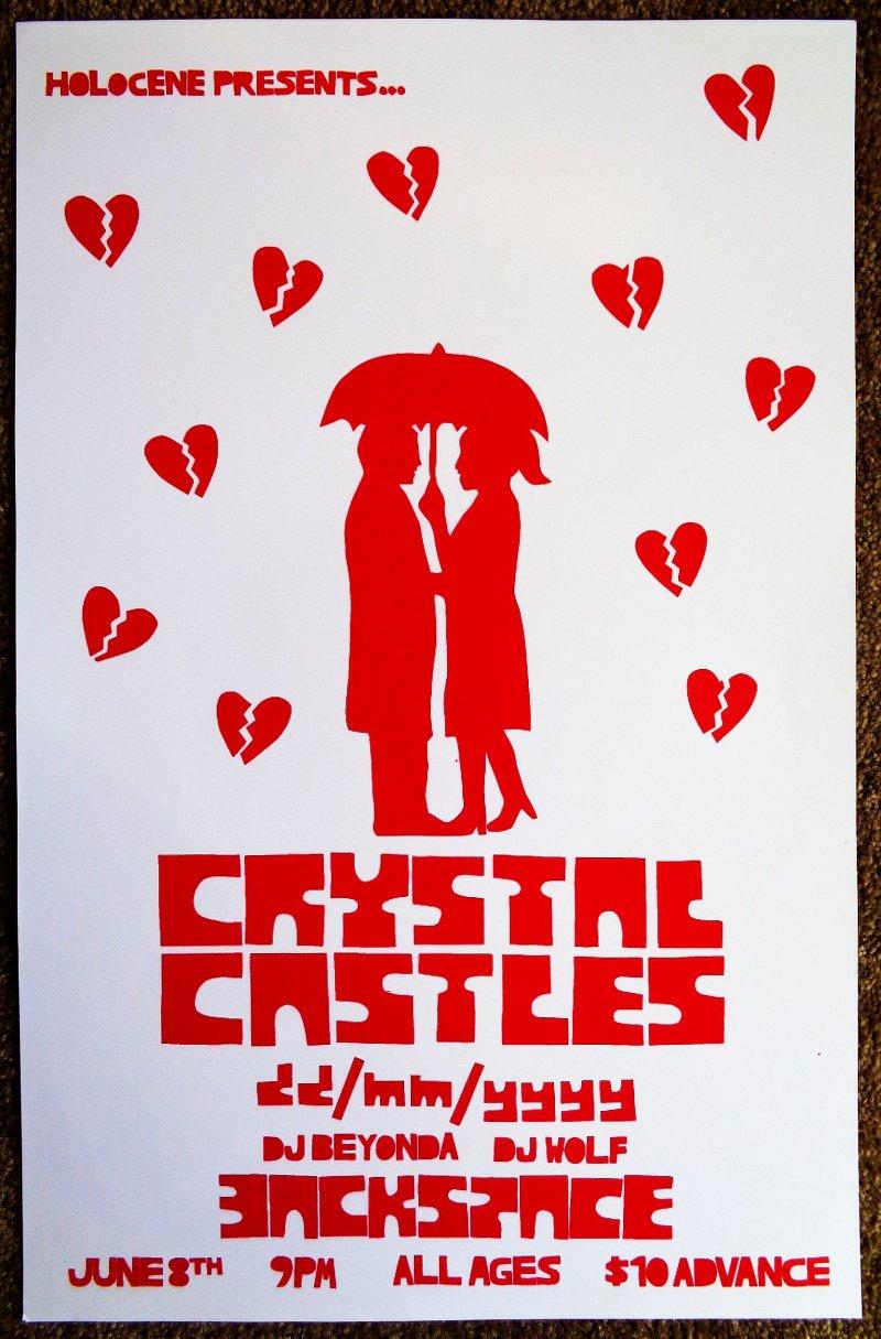 Image 0 of CRYSTAL CASTLES 2008 Gig POSTER Portland Oregon Concert