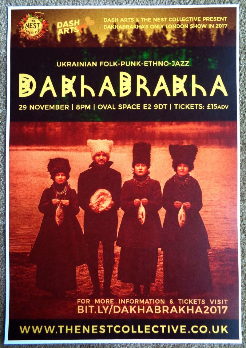 DAKHABRAKHA 2017 Gig POSTER London United Kingdom Concert Ukraine