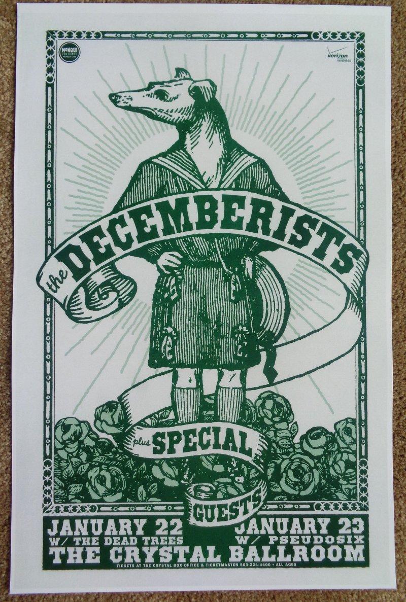 Image 0 of DECEMBERISTS 2008 Gig POSTER Portland Oregon Concert