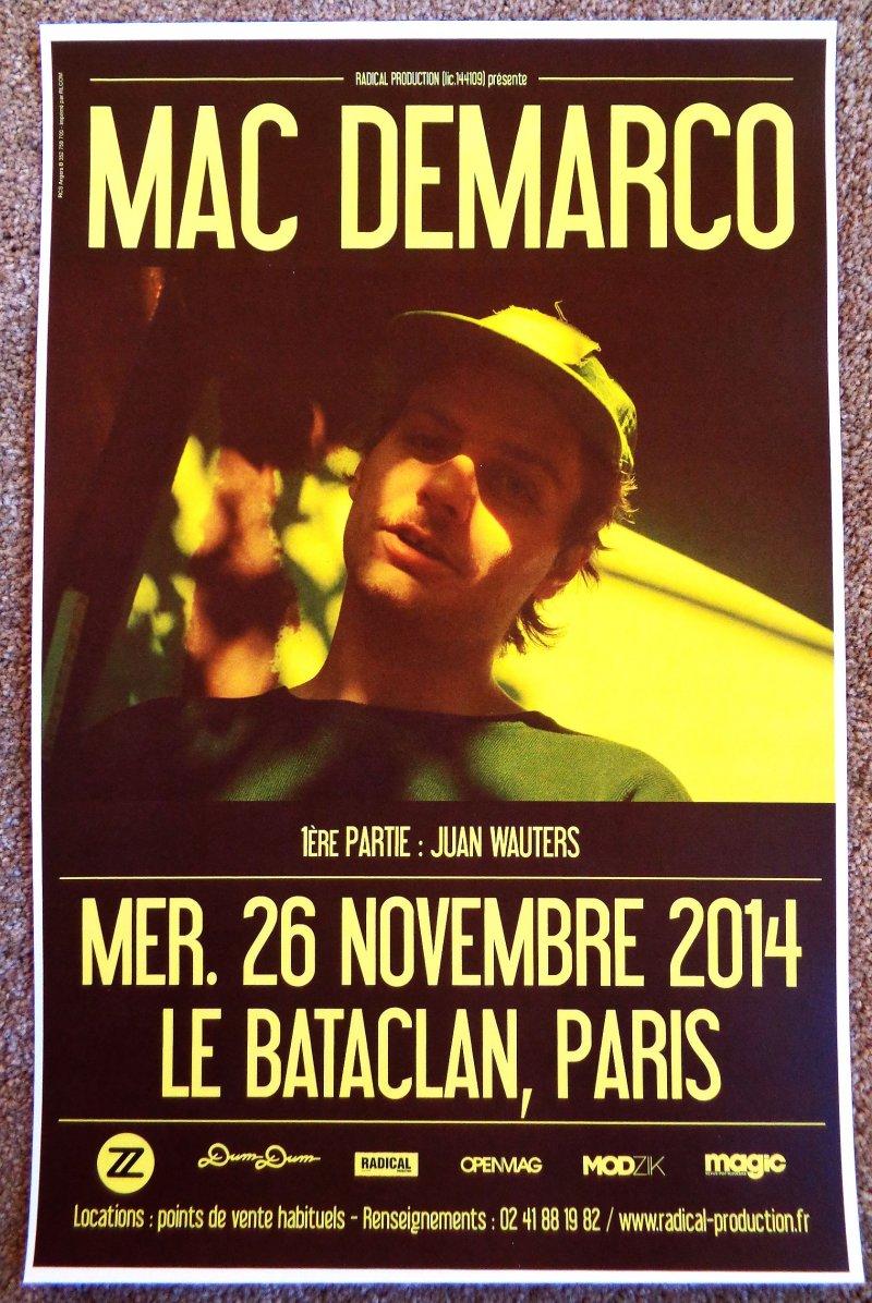 Image 0 of DeMarco MAC DEMARCO 2014 Gig POSTER Le Bataclan Paris Concert France
