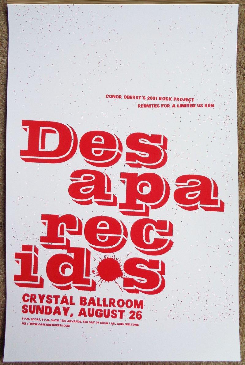 Image 0 of DESAPARECIDOS 2012 Gig POSTER Portland Oregon CONOR OBERST Bright Eyes Concert