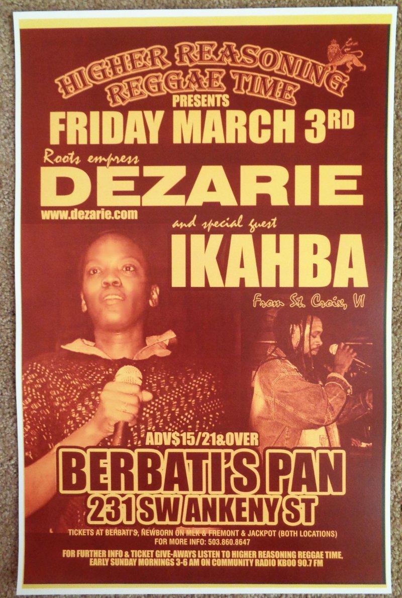 DEZARIE Gig POSTER Portland Oregon March 2006 Concert Reggae