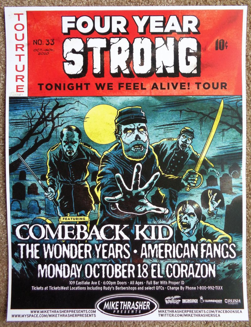 Image 0 of FOUR YEAR STRONG 2010 Gig POSTER Seattle Washington Concert