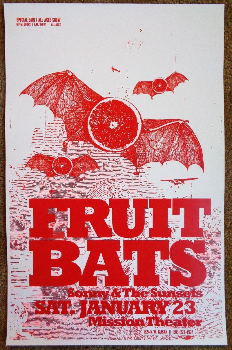 Image 0 of FRUIT BATS 2010 Gig POSTER Portland Oregon Concert Eric D. Johnson