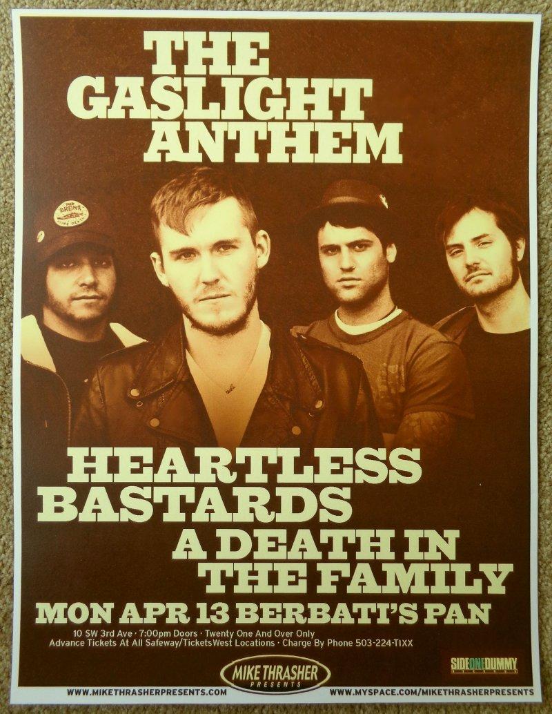 Image 0 of GASLIGHT ANTHEM 2012 Gig POSTER Portland Oregon Concert