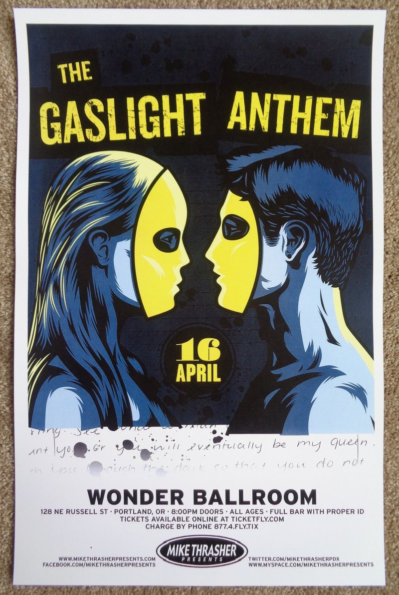 GASLIGHT ANTHEM 2013 Gig POSTER Portland Oregon Concert