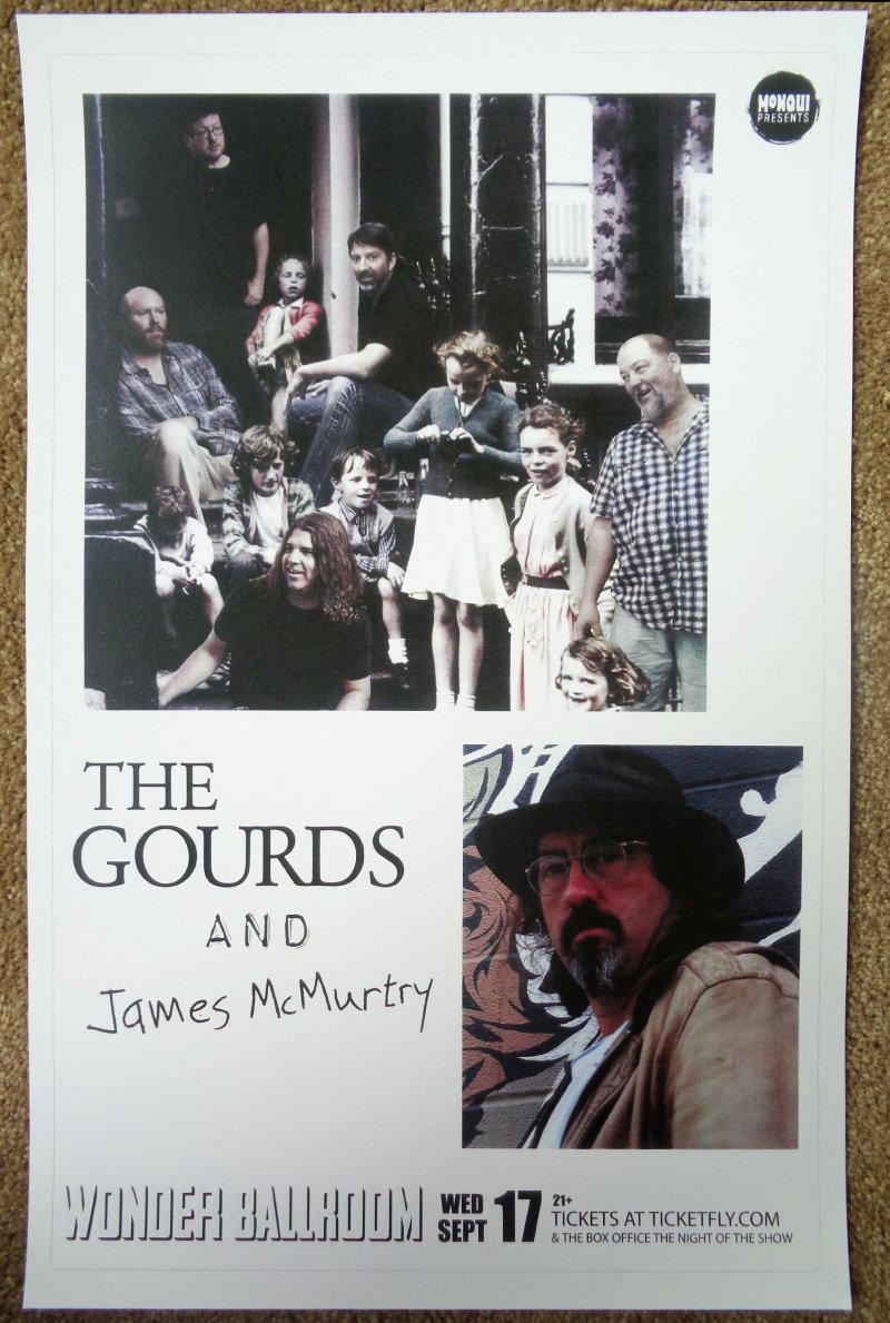 Image 0 of Gourds THE GOURDS & JAMES McMURTRY 2012 Gig POSTER Portland Oregon Concert