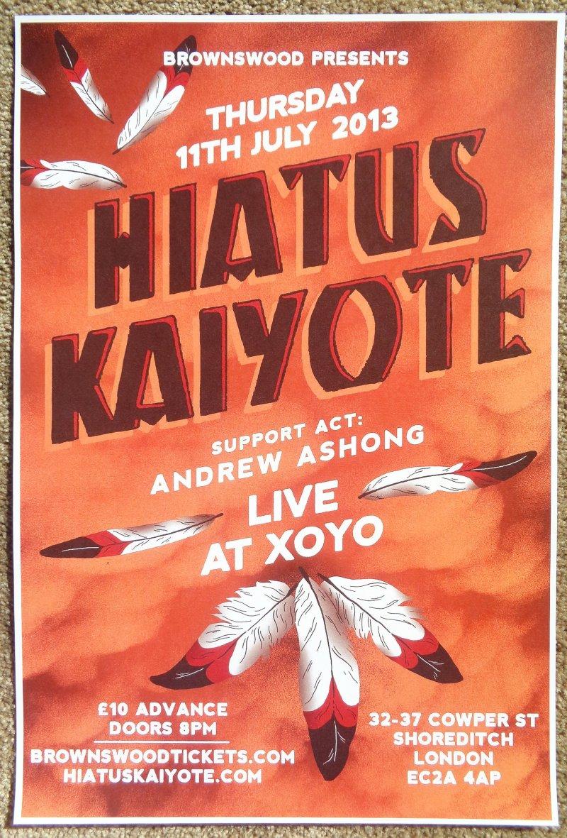 HIATUS KAIYOTE 2013 Gig POSTER Shoreditch London Concert United Kingdom