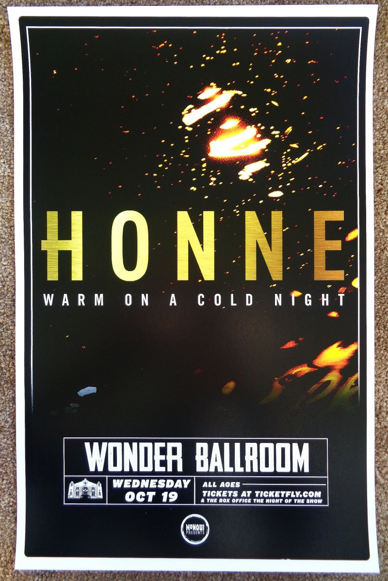 Image 0 of HONNE 2016 Gig POSTER Portland Oregon Concert Warm On A Cold Night
