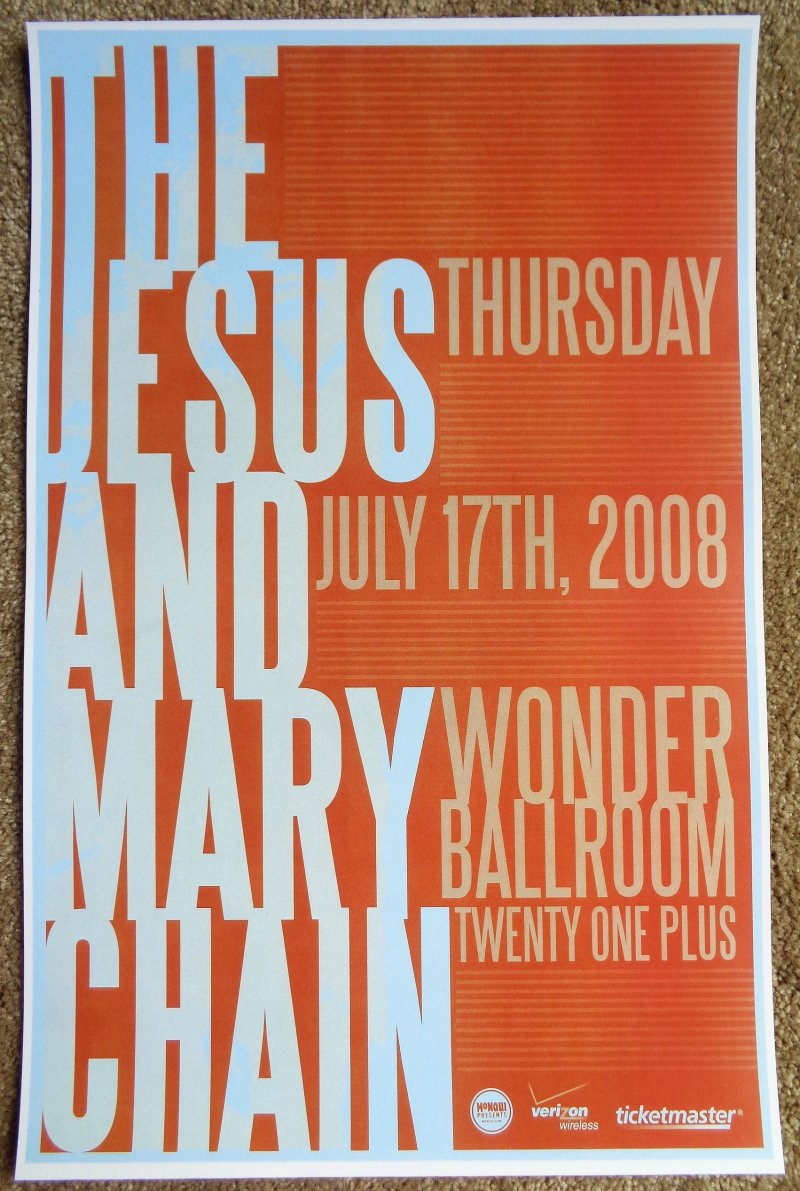 Image 0 of JESUS AND MARY CHAIN 2008 Gig POSTER Portland Oregon Concert