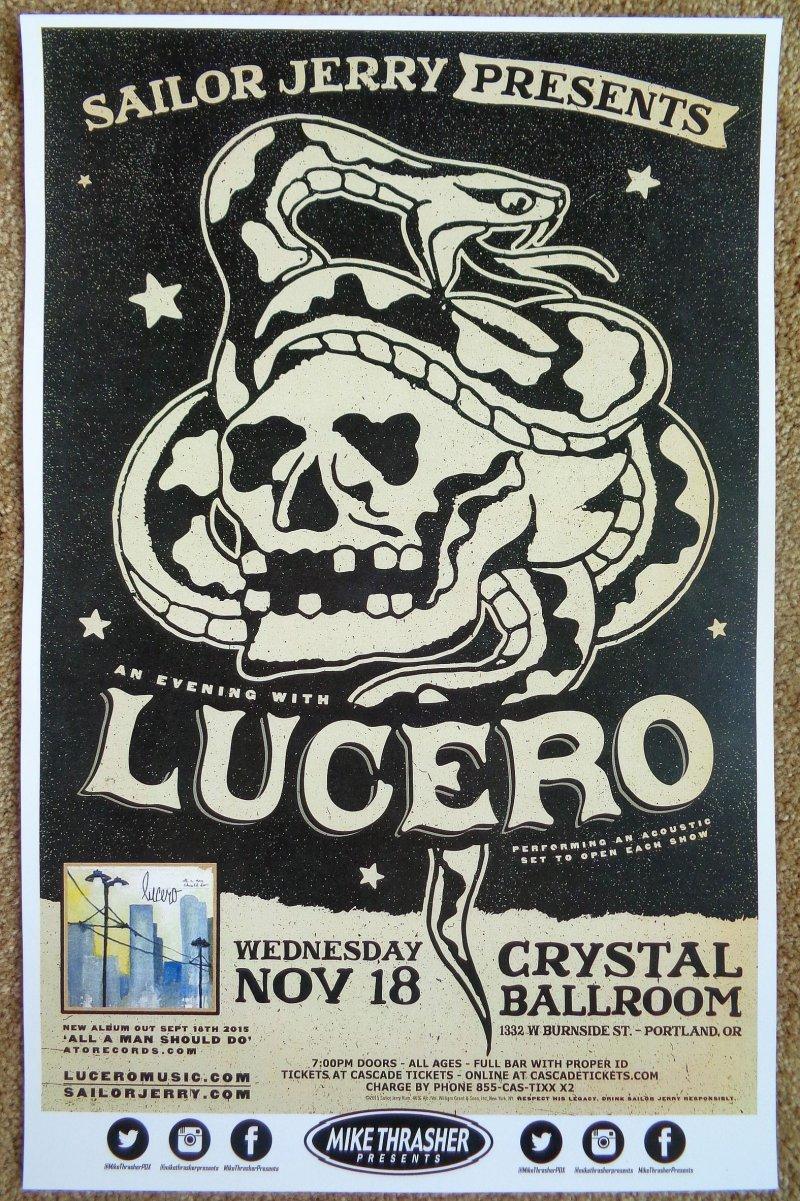 Image 0 of LUCERO 2015 Gig POSTER Portland Oregon Concert Ben Nichols