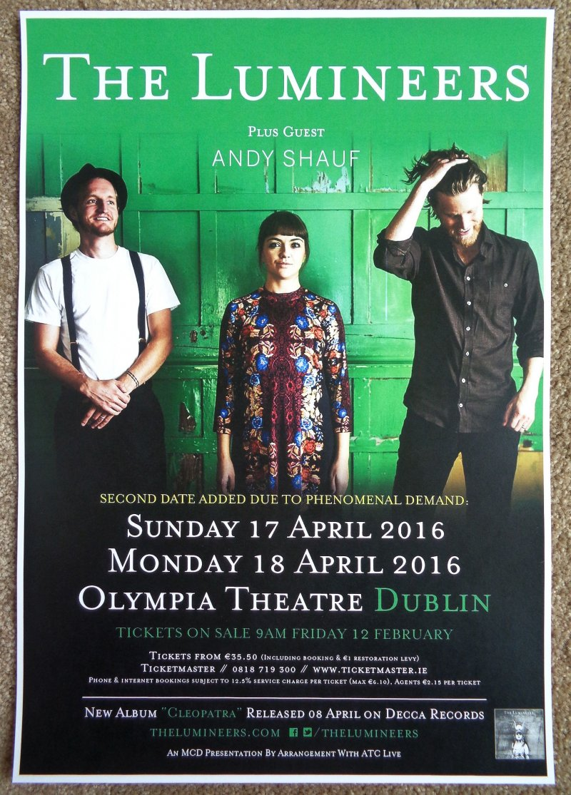 Image 0 of Lumineers THE LUMINEERS 2016 Gig POSTER Dublin Ireland Concert