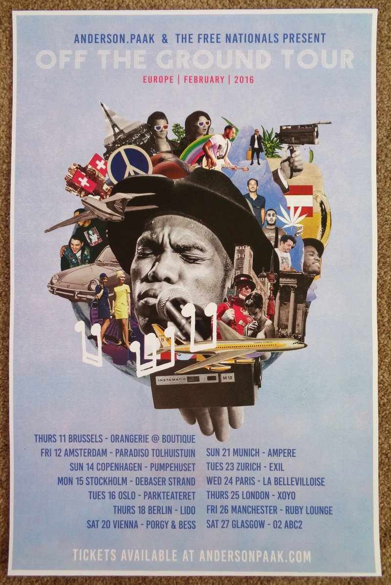 Image 0 of Paak ANDERSON .PAAK 2016 Tour POSTER Europe Gig Concert THE FREE NATIONALS