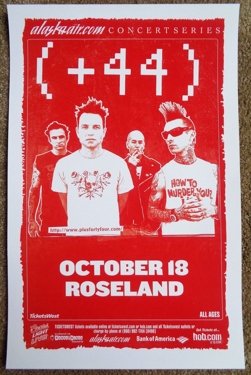 Image 0 of Plus 44 +44 Gig 2006 POSTER Blink-182 Travis Barker Portland Oregon Concert