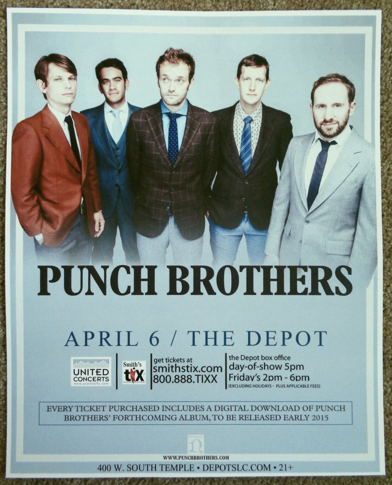 Image 0 of PUNCH BROTHERS 2015 Gig POSTER Salt Lake City Concert Utah CHRIS THILE