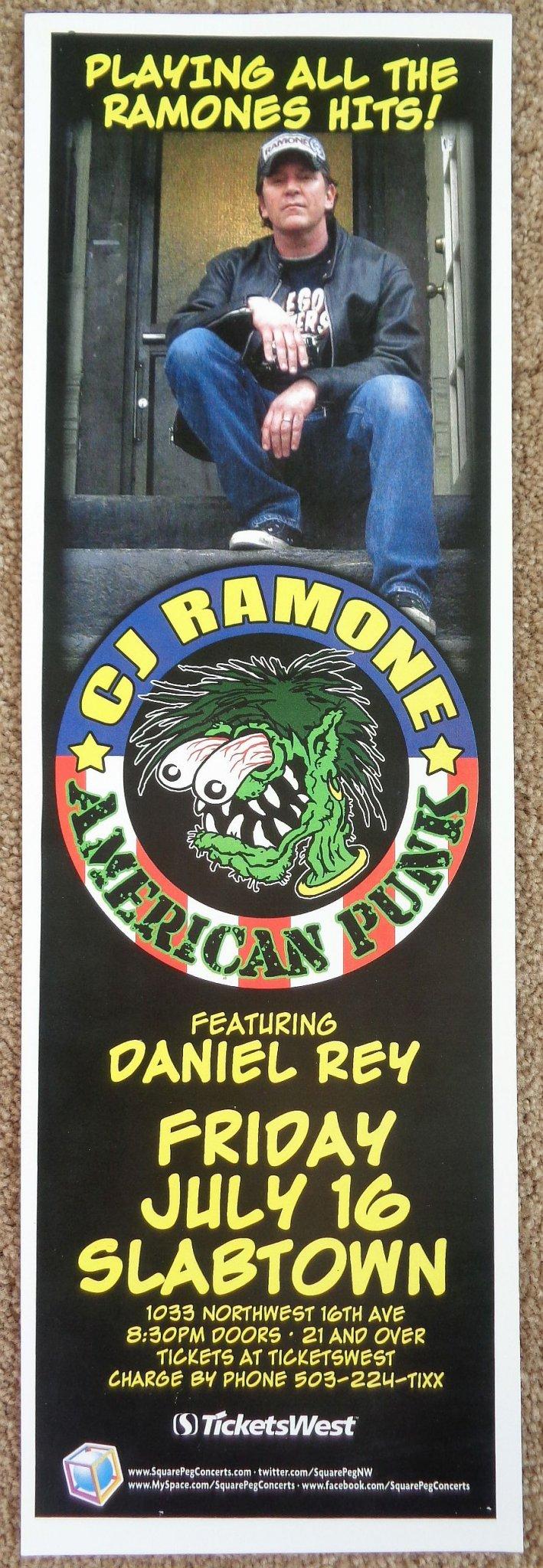 Ramone CJ RAMONE of THE RAMONES 2010 Gig POSTER 5 x 17 Portland Oregon Concert