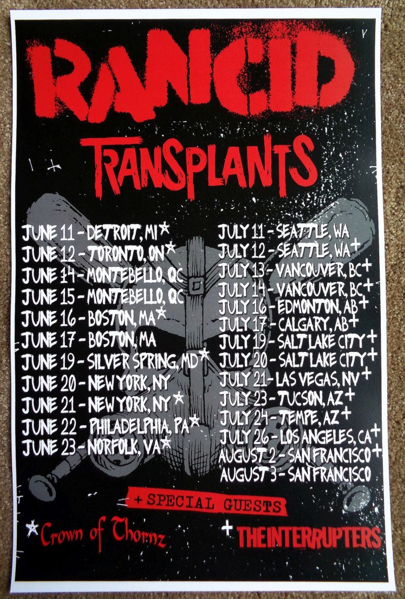 Image 0 of RANCID 2013 Tour POSTER Gig Concert North America Summer