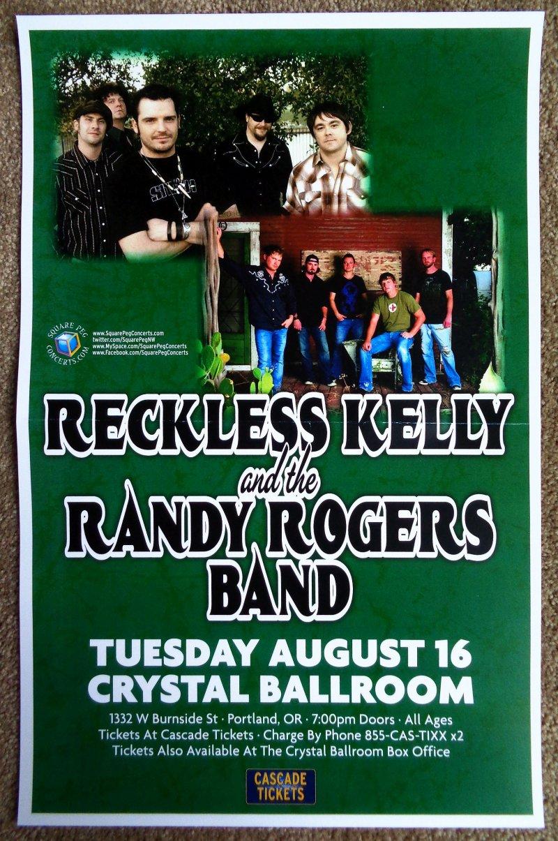 Image 0 of RANDY ROGERS BAND & RECKLESS KELLY 2011 POSTER Gig Portland Oregon Concert