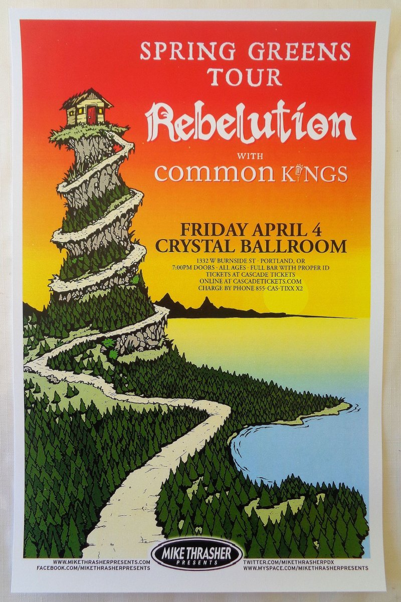 Image 0 of REBELUTION 2014 Gig POSTER Portland Oregon Concert Reggae